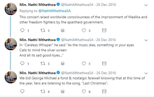 Min. Nathi Mthethwa on Twitter praising George Michael