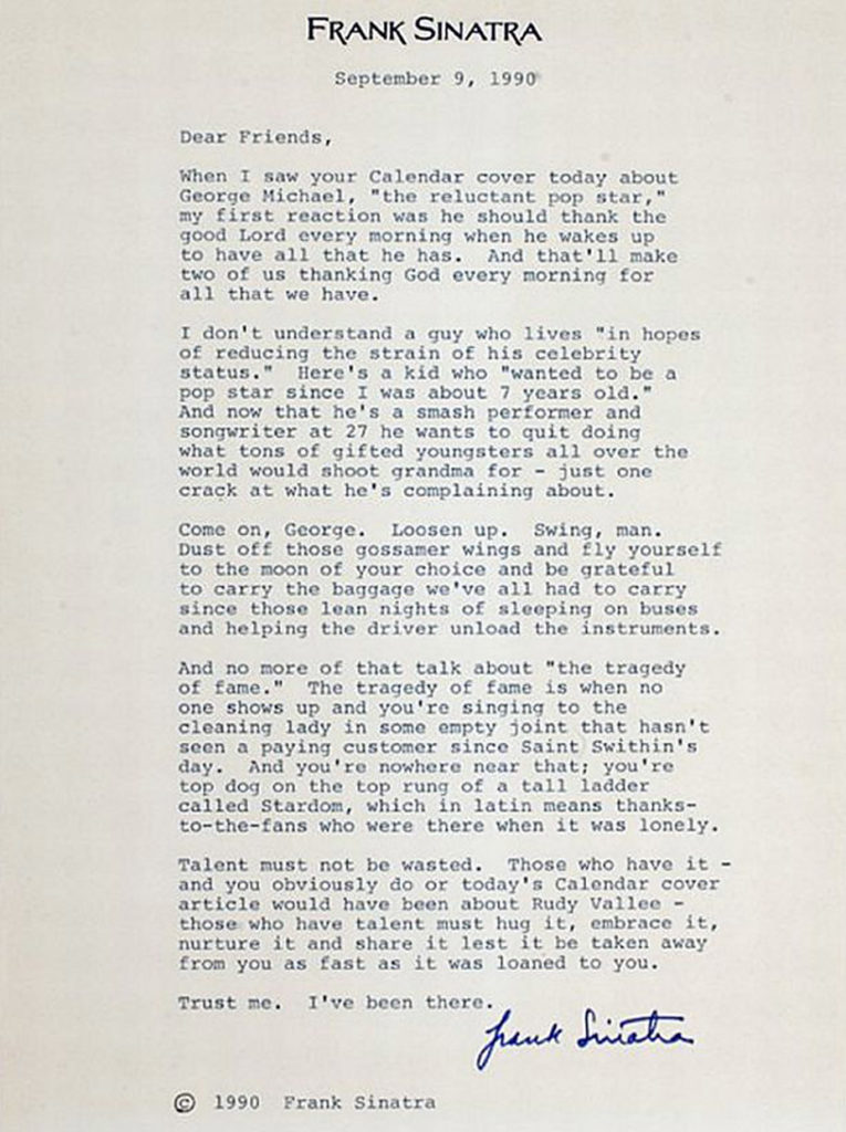 frank sinatra letter
