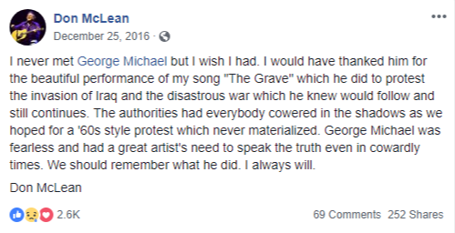 Don McLean Tribute to George Michael