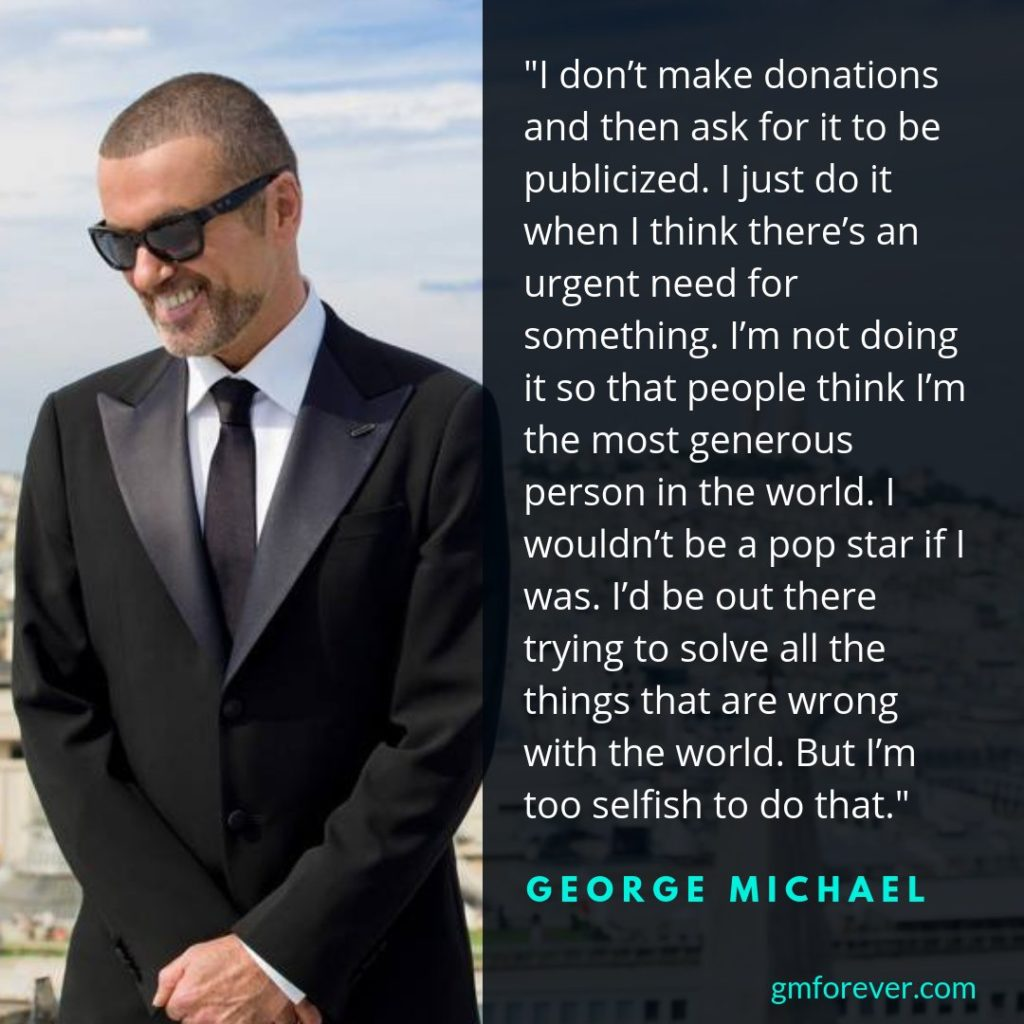 George Michael donation and generosity