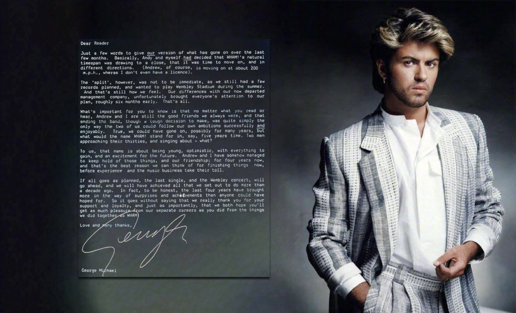 George Michael in the official programme for 'The Final' concert of Wham! on the 28th of June 1986