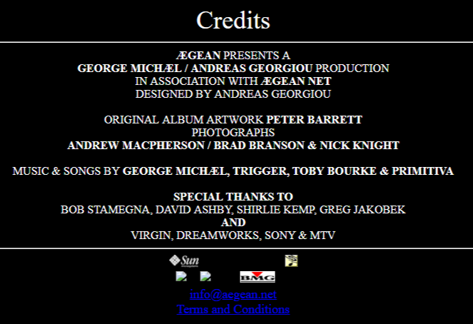 Aegean.net credits George Michael Andreas Georgiou