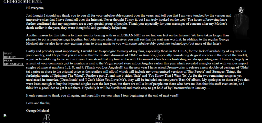 Letter of George Michael to Fans on Aegean.net