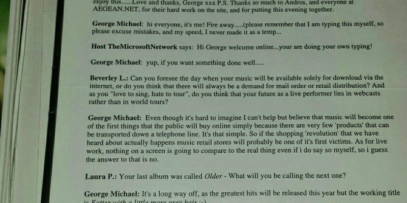Microsoft Network chat with George Michael