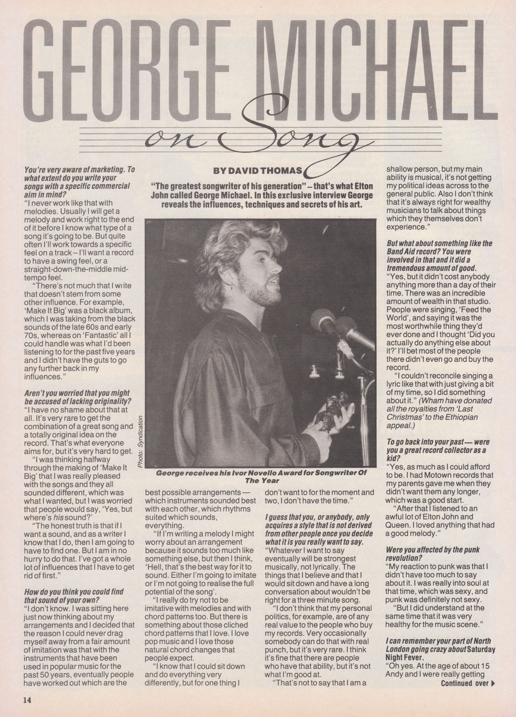 George Michael on His Songwriting Influences, Techniques and