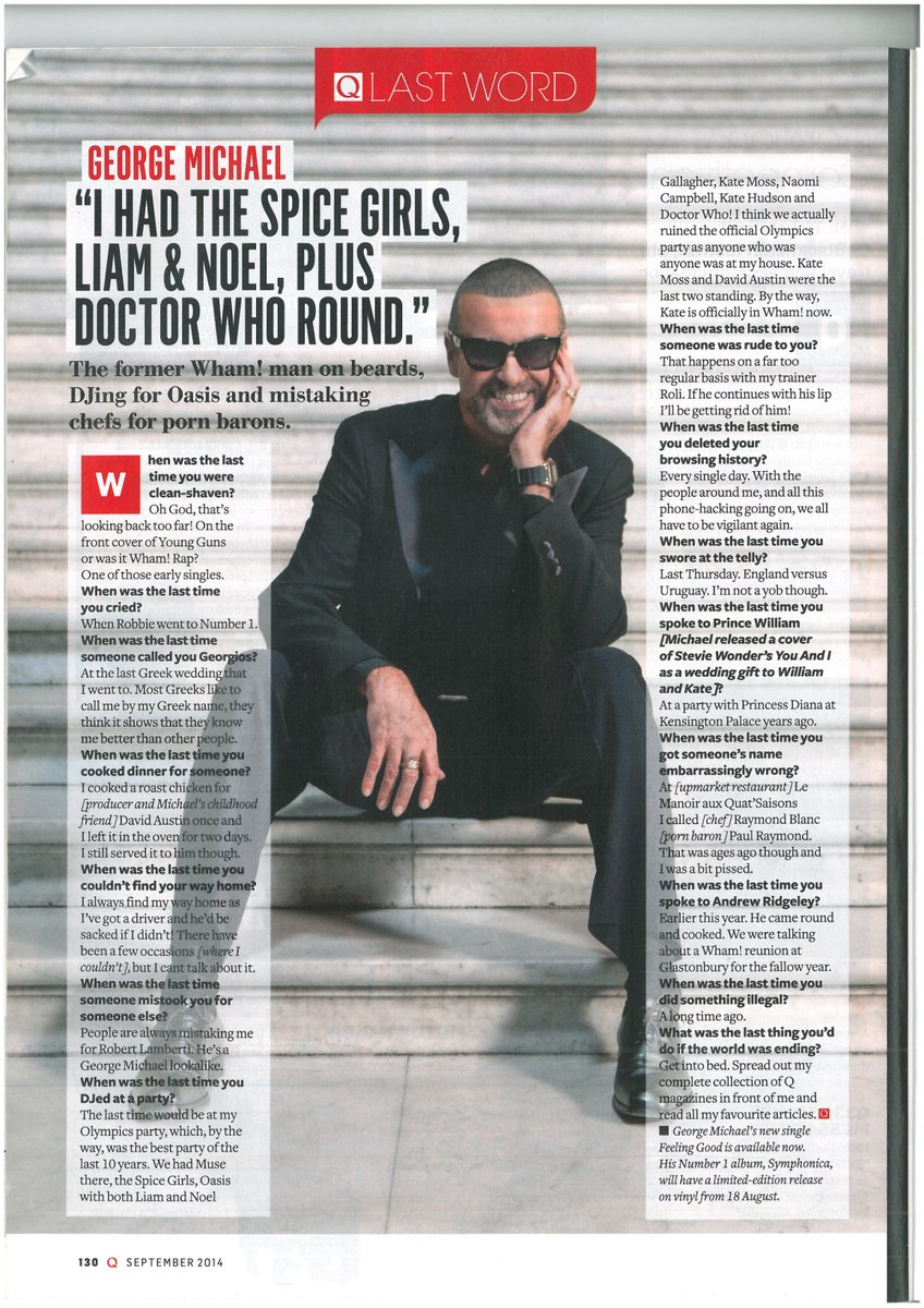 Q magazine interview with George Michael Sept 2014