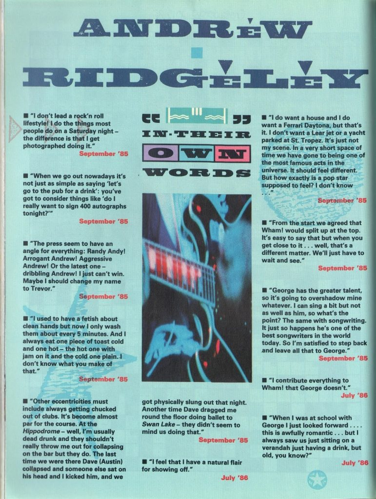In Their Own Words: Andrew Ridgeley (Smash Hits, 1987)