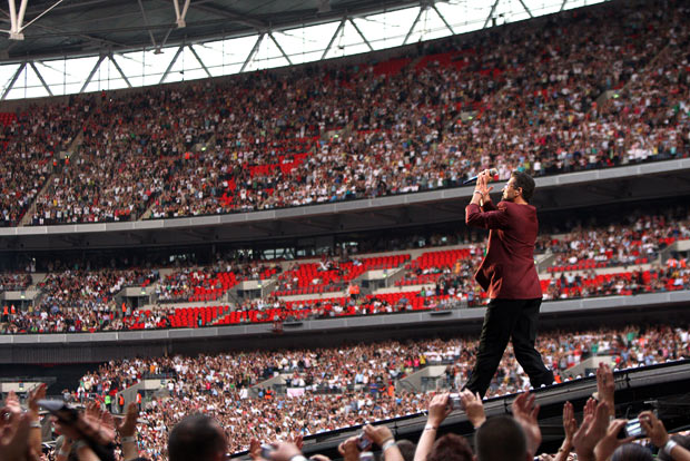 George Michael became the first artist to appear at the new Wembley Stadium