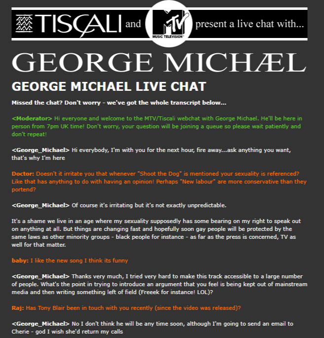 Mtv Tiscali Live Webchat With George Michael 2002