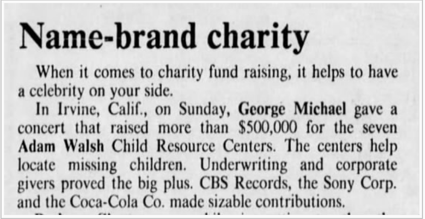 How George Michael Supported a Charity for Missing Children