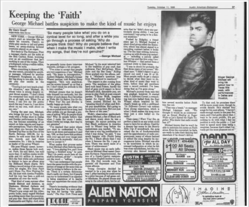Keeping the 'Faith:' George Michael Battles Suspicion to Make the Kind of Music He Enjoys (1988)