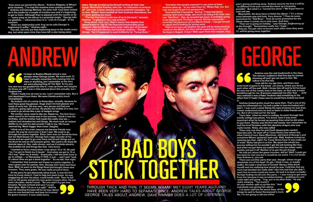 Wham! Bad Boys Stick Together (Smash Hits May 12-25, 1983)