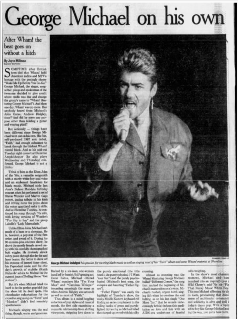 Article by Joyce Millman for The San Francisco Examiner published on September 28, 1988.