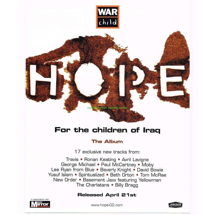 George Michael's Contribution to 'Hope' Album for Iraqi Children Affected by War